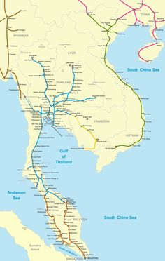 Rail Map of Southeast Asia (Indochina)