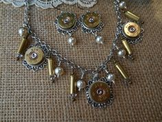 CUSTOM Order for Libby Only ~ Shotgun Shell Jewelry 28 Gauge Winchester Shotgun Shell 22 Caliber Casing Pearl Earrings and Necklace Set