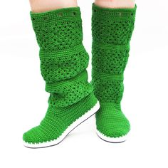 Crochet Boots for the Street Made to Order One Color Granny Square Choose Your Perfect Color. €112.00, via Etsy.