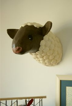 Paper mache Sheep Head by lafactoriaplastica on Etsy