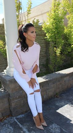 SOFT PINK SWEATER, WHITE JEANS, NUDE PUMPS  FALL STYLE  BELLAMI HAIR, DOWNEAST BASICS, MAURIE & EVE, THEORY, TOPSHOP,FARROW