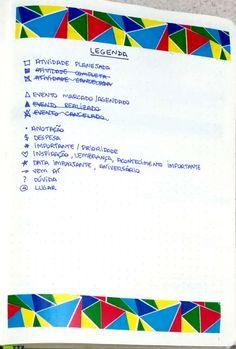 #bulletjournal #journal #planning #organização #agenda #bujo #planwithme #layout #template #portuguese #português #pt-br #agenda #planner #diy #handwriting #2017setup #key #legenda