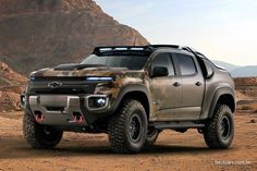 General Motors has revealed its most extreme Chevy truck yet, and it's set to be tested by the US Army. The Chevrolet Colorado is an off-road electric vehicle equipped with a massive hydrogen fuel cell, which can even act as a portable power source Chevrolet Colorado, Hydrogen Powered Cars, Hydrogen Fuel, Chevrolet S10, Chevrolet Silverado, Silverado Hd, General Motors, Chevy Trucks, Pickup Trucks
