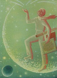 Marian KONARSKI (1909-1998)  Księżycowy pejzaż - Wizerunek własny artysty, 1951 gwasz, papier; 54,5 x 39 cm (w świetle oprawy);  sygn. p. d.: M. Konarski 51