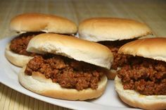 Sloppy joes for 50 10# lean ground beef 4 lge white onions (chopped) 3 lge green bell peppers (chopped) 3/4 c brown sugar (packed) 1/2 c spicy brown mustard 2 c ketchup 1 can (16 oz) tomato sauce 3 c water 1/2 c white vinegar 1/2 c Worcestershire sauce 50 buns (fits in 3 crockpots)  Chunky potato salad for 50 25 large russet potatoes 1 doz eggs (hard boiled, chopped) 3 c Miracle Whip  1 c mustard 2 large white onions (chopped) 3 t salt 1 t black pepper 1 t garlic powder paprika (optional)