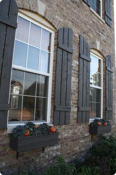 Best Exterior Window Shutters On Brick Flower Boxes Ideas Outdoor Shutters, Cedar Shutters, House Shutters, Wood Shutters, Exterior Shutters, Black Shutters, Cottage Shutters, Garage Exterior, Exterior Paint