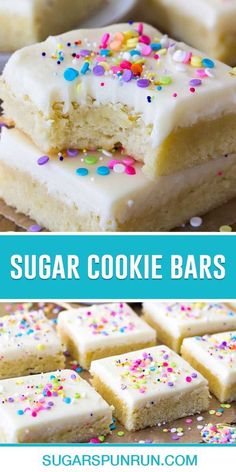Buttery-soft sugar cookie bars topped off with a sweet buttercream frosting and plenty of colorful sprinkles! These cookie bars make a great treat any time of the year, but they're easily customizable with festive sprinkles for the holidays or special occasions! Sugar Cookie Cakes, Chewy Sugar Cookies, Sugar Cookie Frosting, Sprinkle Cookies, Sugar Cookie Dough, Christmas Sugar Cookies, Sugar Cookies Recipe, Cookies Et Biscuits, Christmas Baking