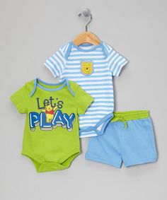 Take a look at this Green & Blue Winnie the Pooh Lets Play Bodysuit Set by Disney on #zulily today!