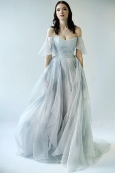 pale blue chiffon watercolor wedding dress
