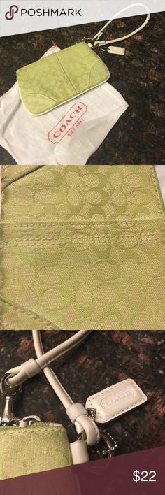 COACH wristlet Lime Green small Coach wristlet. Has slight signs of wear. Drop cloth bag included. Coach Bags Clutches & Wristlets