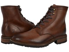 FRYE FRYE - JAMES LUG LACE UP (DARK BROWN SMOOTH FULL GRAIN) MEN'S LACE-UP BOOTS. #frye #shoes #