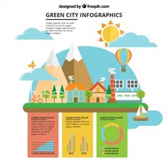 Flat organic city with infographic elements Free Vector