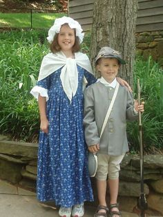 Girls Colonial Frock and Boys Confederate Uniform #colonialcostume #civilwarcostume