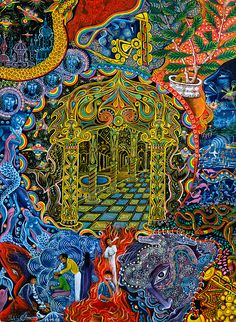 Pablo Amaringo Painting - Pagoda Dorada by Pablo Amaringo