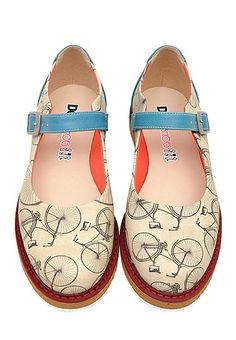 "DOGO ""Lucy"" Ballerinas Bicycle  ~   #shoes #flats #white #blue #nostalgia #bike #handmade"