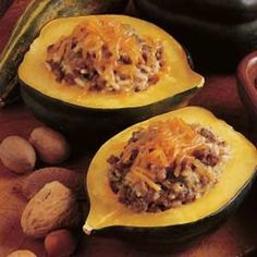 Beef-Stuffed Acorn Squash Recipe.  This is so yummy.  I can't wait to make it soon.