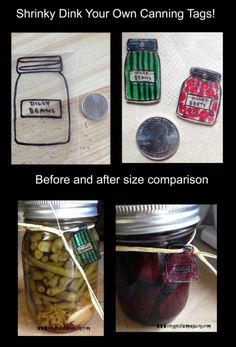 They shrink quite a bit, so if your using your own design, you might have to experiment with the size to get it right. Mason Jar Crafts, Mason Jars, Diy Shrink Plastic Jewelry, Dilly Beans, Canning Jar Labels, Shrinky Dinks, Diy Craft Projects, Craft Ideas, Cool Diy
