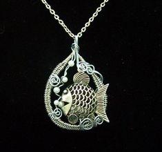 Statement Necklace Girlfriend Gift, Large Fish Pendant, Hand Woven Wire, Fun Beach Jewelry, Big Handmade, Swimming Bubbles, Unique Present