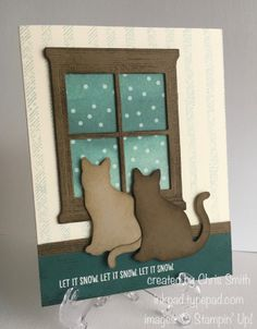 The Cat Window punch, Stampin up Xmas Cards, Holiday Cards, Greeting Cards, Cat Window, Window Cards, Dog Cards, Hearth And Home, Animal Cards, Christmas Cats