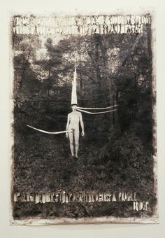 Lesley Dill  Odd Mann in the Woods, 1998  Charcoal, oil on photo     (via LESLEY DILL : PHOTOGRAPHY)    Source: lesleydill.net