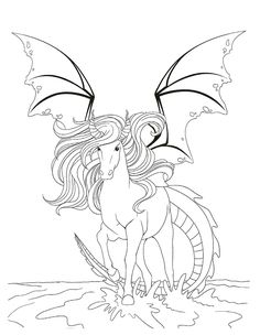 Coloriage Cheval Dragon Fantastique Adult ColoringColoring BooksColoring