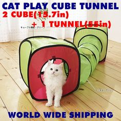 "PET KITTEN CAT HUGE PLAY 55"" TUNNEL & 2 CUBES TOY Accessory Supplies -US $35.70"