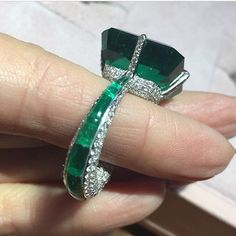 I Like Big #Rings and I Cannot Lie! Calibrated 23ct #ColombianEmerald and Diamond Ring by @glennspirojewels