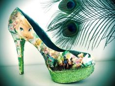 4 inch Cinderella Heels with Swarovski Crystals on Baby Blue Glitter Platforms Tinkerbell Shoes, Tinkerbell And Friends, Tinkerbell Disney, Disney Style, Disney Art, Walt Disney, Dream Shoes, Crazy Shoes, Cute Shoes