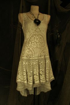 The Fairy Brides White Romantic Lace Dress - in white lace and stretch fabric small to medium