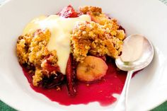 Tamarillo and banana crumble recipe, NZ Woman's Weekly – visit Food Hub for New Zealand recipes using local ingredients – foodhub.co.nz