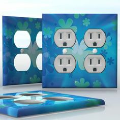 DIY Do It Yourself Home Decor - Easy to apply wall plate wraps | Popping Blossoms  White and blue flowers  wallplate skin sticker for 2 Gang Wall Socket Duplex Receptacle | On SALE now only $4.95