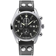 Laco Man watch - Name Trier - Color Black Silver Black - Ref 861915 - Diameter - Chronograph Movement - Leather Strap - Laco Watches Official Stockist - Free Delivery Bracelet Cuir, 316l Stainless Steel, Chronograph, Black Silver, Watches For Men, Leather, Black Leather Bracelet, Black Bracelets, Clock Art