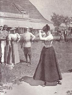 This illustration from an 1894 Harper's Bazar shows the practical ensemble many women golfers were wearing at that time.  It consisted of a skirt that was several inches off the ground, and a simple blouse.  However there were still problems.  A full swing of the club was hindered by the blouse sleeves that were too fitted.  The skirt often caught the club as it swept by - turns out cycling wasn't the only sport wear skirts interfered in Londonderry's day