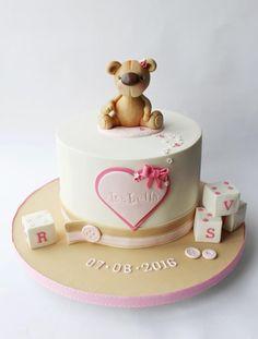 Baby bear christening cake by Elaine Boyle. Baby Christening Cakes, Baby Boy Cakes, Girl Cakes, Baby Shower Cakes, Wiggles Cake, Love Cake Topper, Teddy Bear Cakes, Ballerina Cakes, Mom Cake