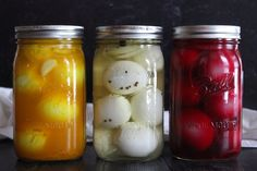 Pickled eggs are a real treat and the perfect tangy salty snack. Just pour a flavorful brine over hard-boiled eggs and stick them in the fridge, no canning required. Canning Recipes, Egg Recipes, Snack Recipes, Amish Recipes, Pickled Eggs, Canned Food Storage, Salty Snacks, Egg Dish, Fermented Foods
