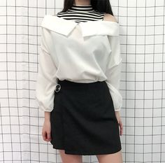 Korean fashion. Style skirt outfits like you would be comfortable wearing in skirt lenght wise.