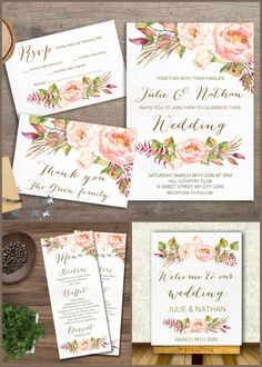 Wedding Invitation, Floral Wedding Invitations, Peony Wedding Invite, Watercolor Flowers Invitation, DIY wedding, For more elegant and modern wedding stationery and matching signs, menu & other cards check the following link: tranquillina.etsy.com