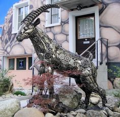 mountain goat statue life size scrap metal art for sale