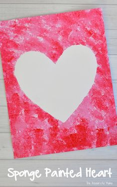 Create a fun and easy Valentine's Day art project using sponges to paint a heart.
