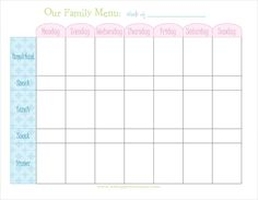 Family Meal Planner Template Best Of Naturally Creative Mama Freebie Weekly Menu Planner Free Printable Menu Template, Menu Planning Template, Weekly Meal Plan Template, Meal Planner Template, Meal Planner Printable, Menu Templates, Calendar Printable, Templates Free, Free Printables