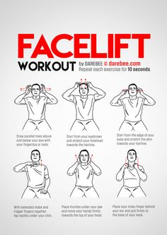 Facelift Workout - Fitness and Exercises Face Exercises, Chair Exercises, Stretching Exercises, Physical Fitness, Yoga Fitness, Fitness Tips, Health Fitness, Workout Fitness, Gym Workouts