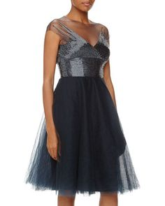 Beaded+Tulle+Fit-And-Flare+Cocktail+Dress,+Blue/Gray+by+Monique+Lhuillier+at+Neiman+Marcus+Last+Call.
