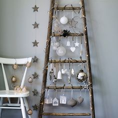 The White Company – An especially ingenious idea for small spaces, hang baubles and lights from a ladder propped against the wall. Decorations from £4 (thewhitecompany.com)