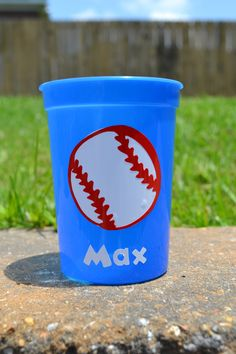 5 personalized blue baseball toddler cup party favors