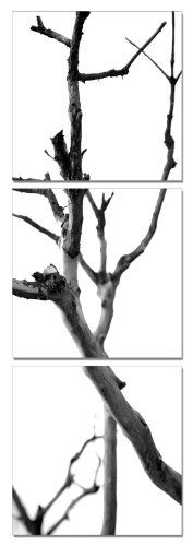 Winter`s Abstraction. Vertical Contemporary Art, Modern Wall Decor, 3 Panel Wood Mounted Giclee Canvas Print,...