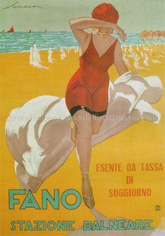 Fano - Stazione balneare, Riviera Adriatica (Italy), c. 1 9 0 0 Vintage Italian Posters, Poster Vintage, Vintage Travel Posters, Vintage Postcards, Vintage Advertisements, Vintage Ads, In Loco, Retro, Vintage Italy