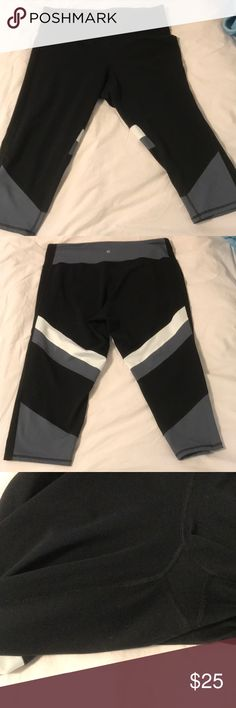 "🆕listing! Athletic capris, black, grey, and white XXL athletic capris. Medium compression, softer feel fabric, high waist (hits just above my belly button, 5'8"" for reference). Fun grey and white accents. Excellent used condition, no pills, tears, or stains. Just a bit too loose for me! Champion Pants Capris"