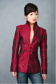 Burgundy Embroidered Thai Silk Chinese Clothing