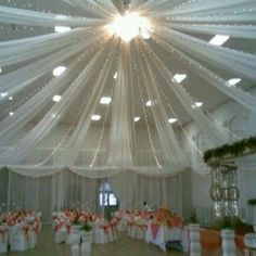 Decorating a wedding reception is almost as important as decorating the actual venue of the wedding ceremony. If you're holding your reception in the same place Tulle Ceiling, Ceiling Decor, Wedding Reception Decorations, Wedding Table, Wedding Venues, Gym Wedding Reception, Reception Backdrop, Marquee Wedding, Decor Wedding
