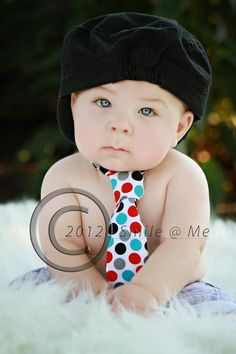 Baby Boy / Toddler Polka Dot Tie with Red, Black, Gray and Blue dots.  Diaper Cover, Party Hat and Banner also available. on Etsy, $11.00